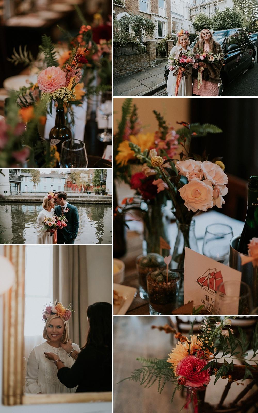 Brightly Coloured Wedding Flowers // Dahlia Wedding Flowers // Bride In Oversized Floral Crown