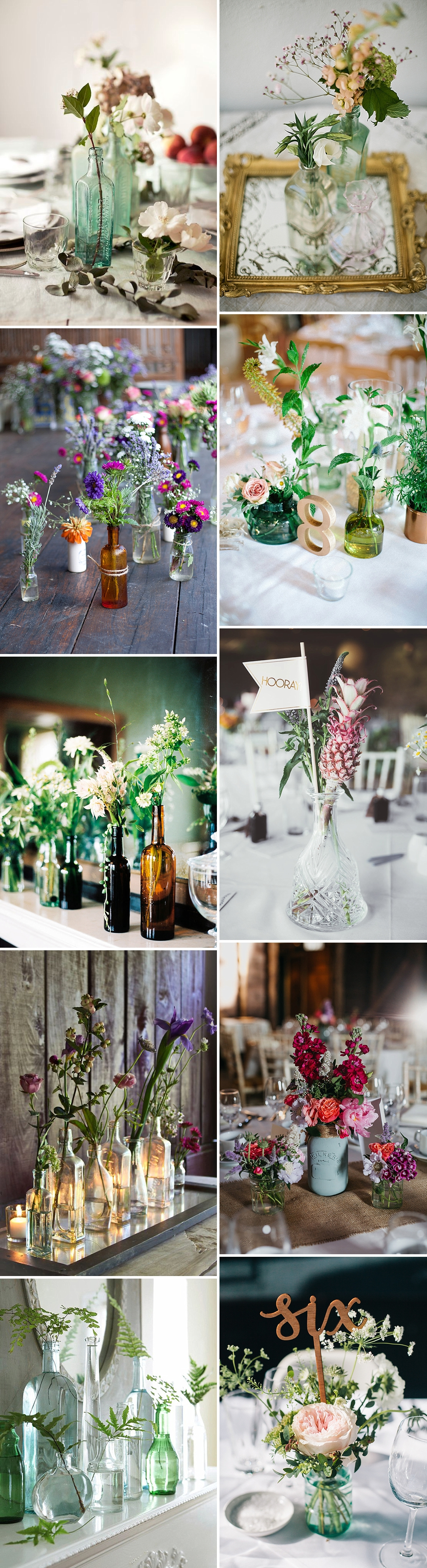 Unique and beautiful table centrepiece ideas for your wedding day for all budgets from classic candelabras to rustic logs and the olive leaf table garland