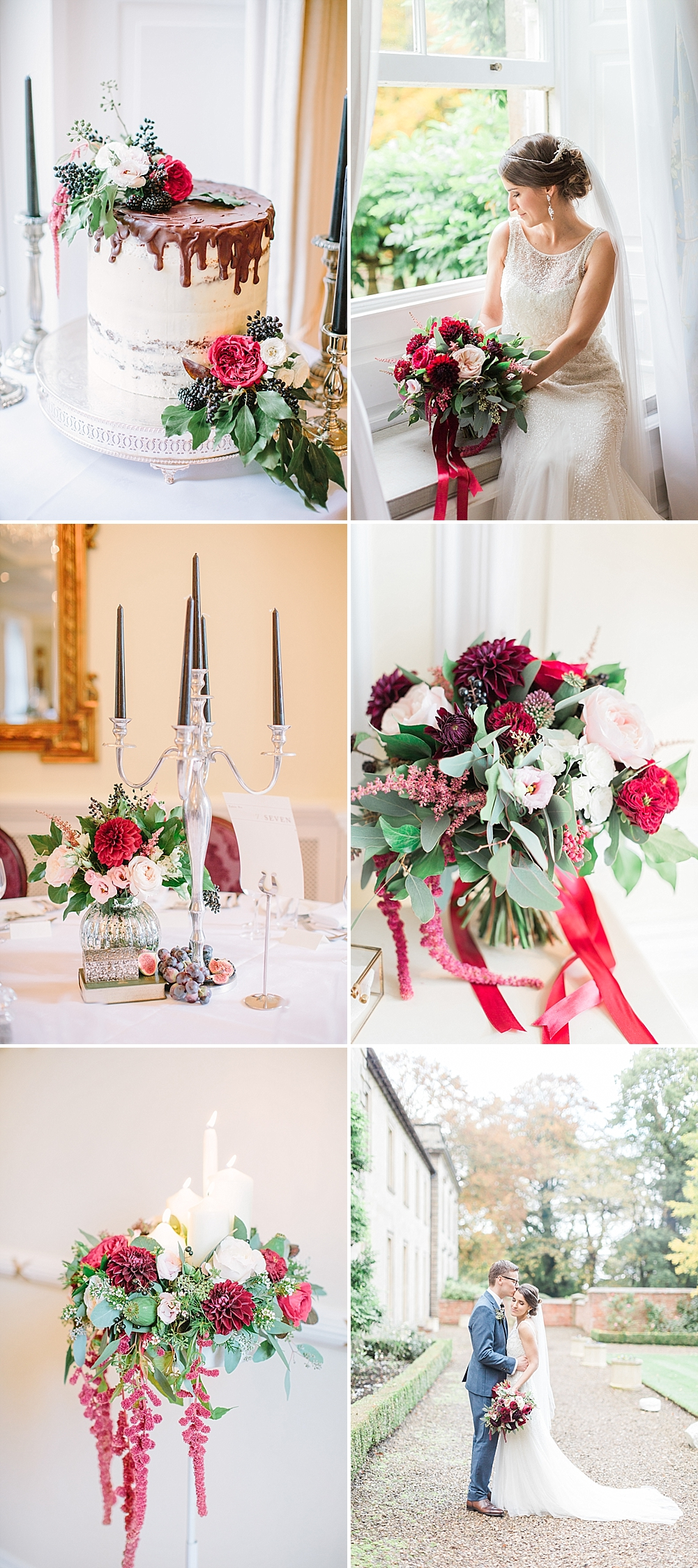 Elegant Wedding at Eshott Hall Northumberland with Red Flowers by Katy Melling Photography