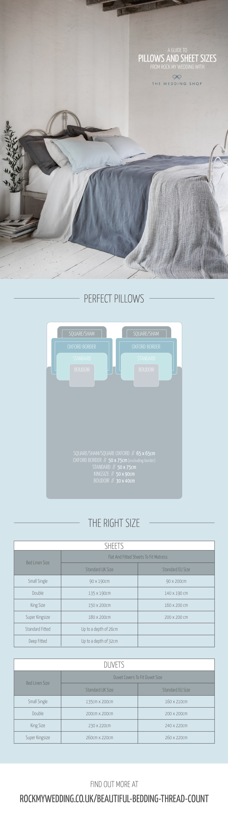 Your Guide To Pillow & Sheet Sizes