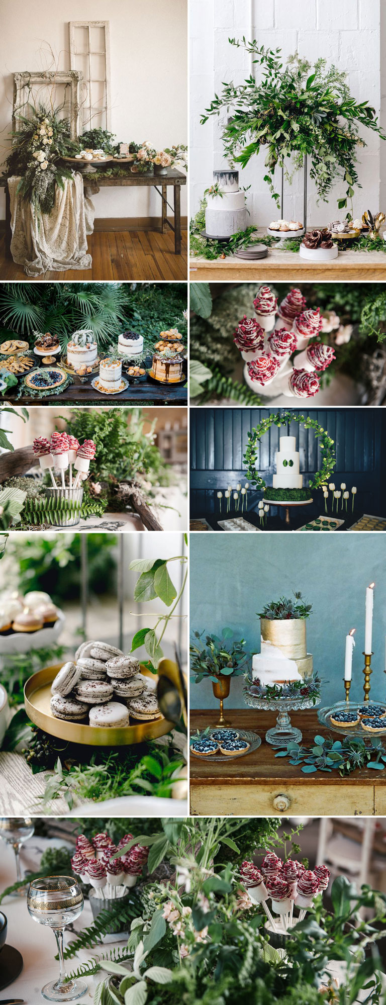 Wedding Dessert Table Styled With Foliage