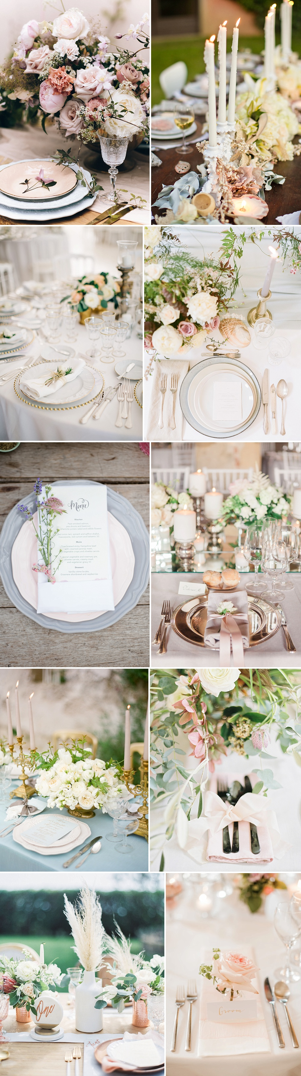 Place Settings For Weddings With A Pastel & Metallic Colour Palette