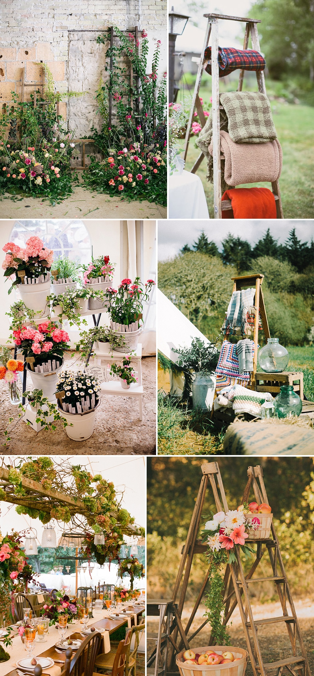 Wedding Decor & Styling Ladders With Bright Flowers