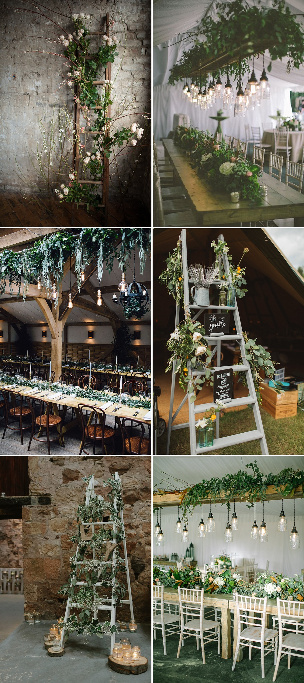 Wedding Decor & Styling Ladders Using Greenery & Foliage