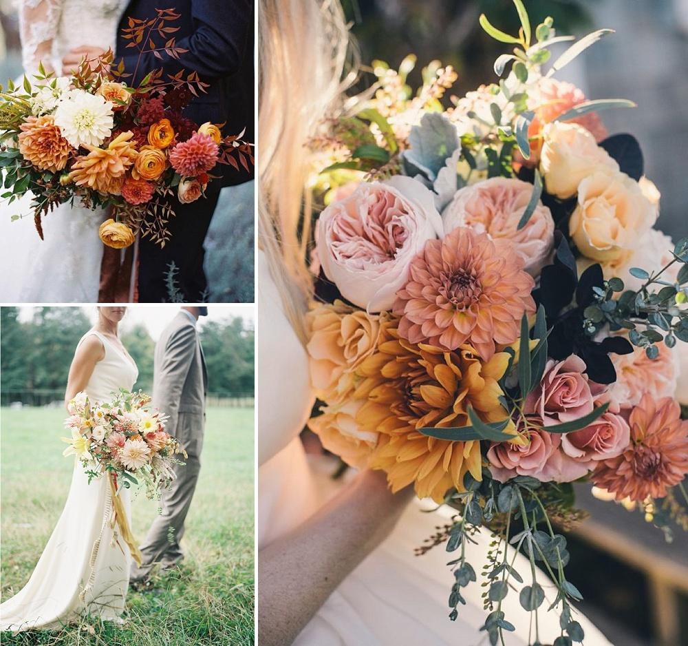 Golden Dahlia Wedding Bouquets // Using Dahlias For Your Wedding Flowers