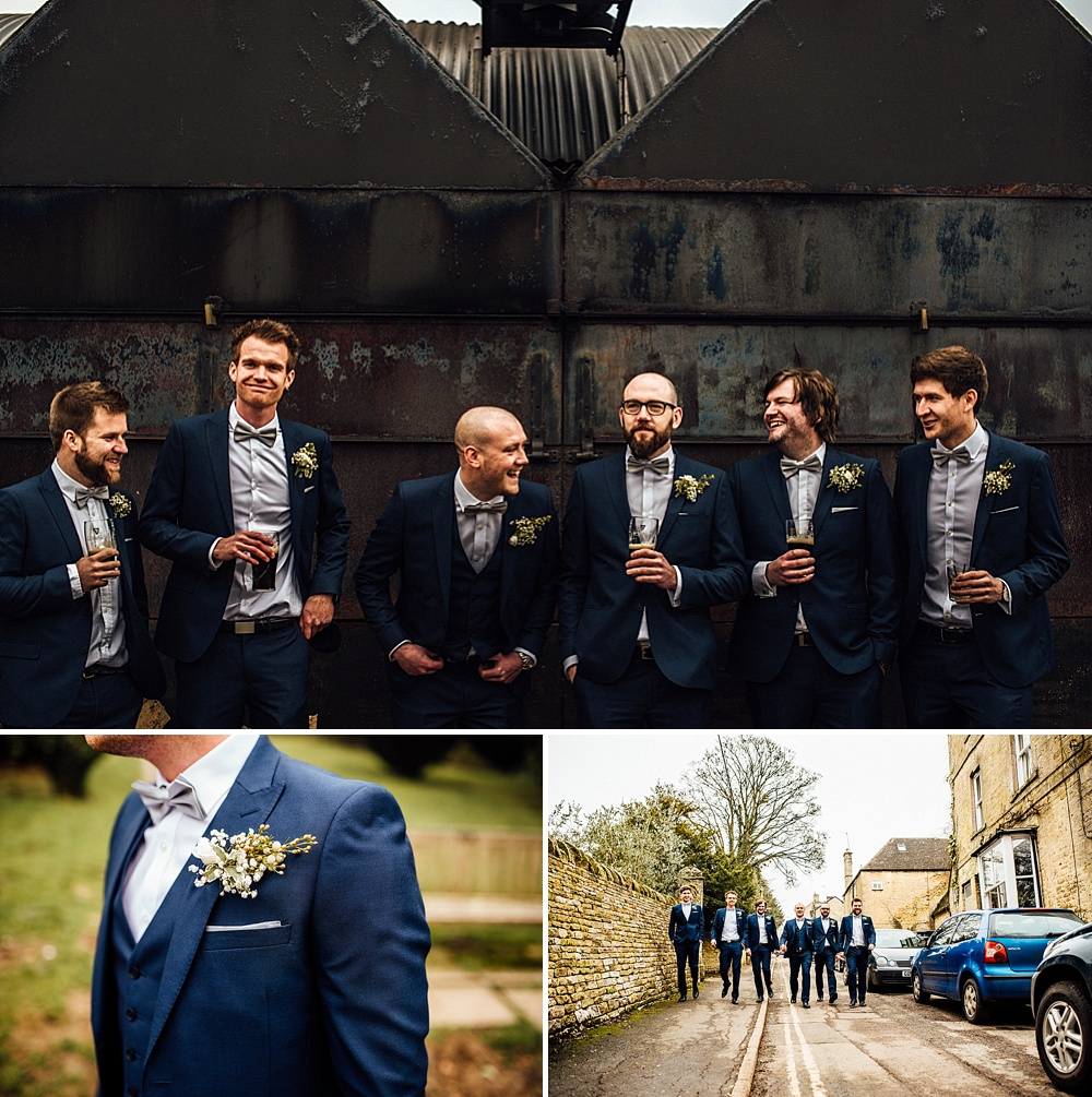 Moss Bros Blue Suits with Bow Ties
