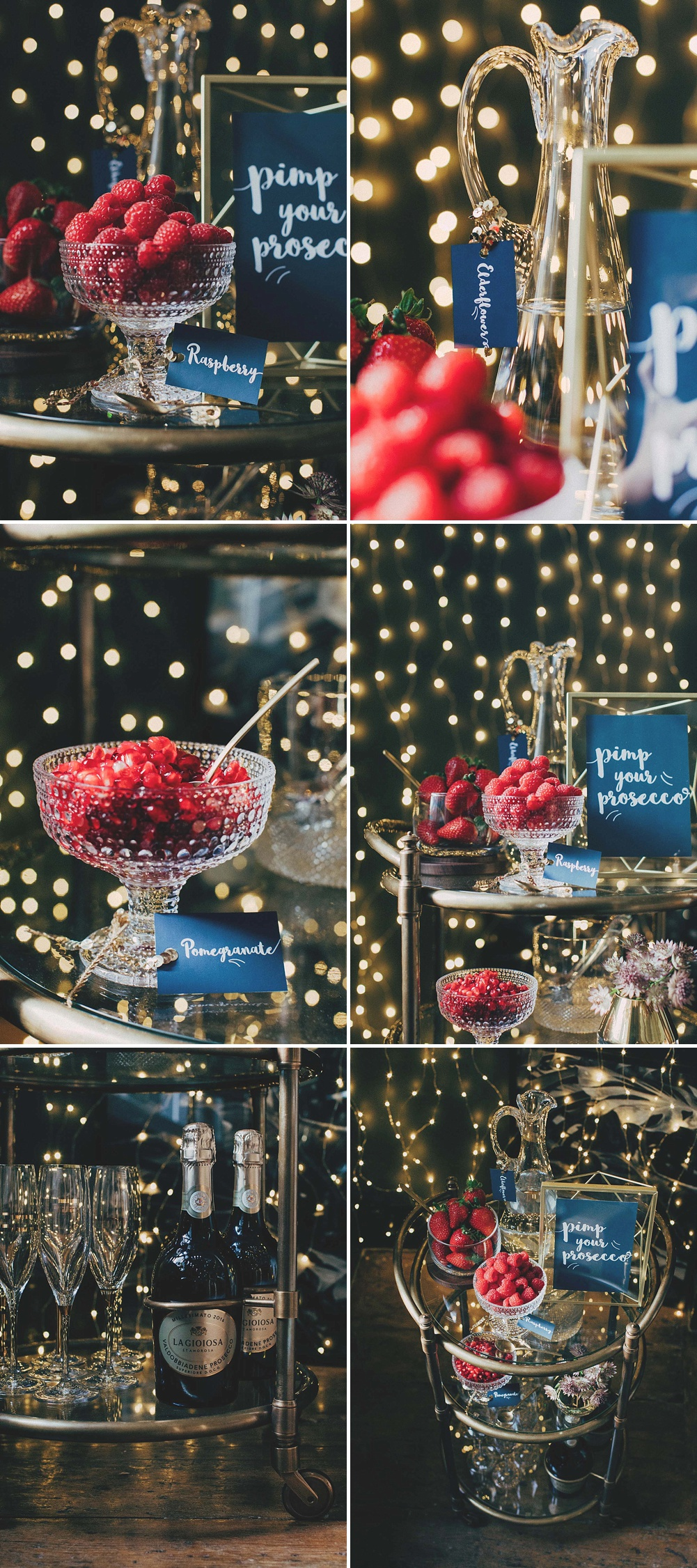 Sparkly DIY Pimp Your Prosecco Bar For Weddings & Parties With Gold Details & Lots Of Fairy Lights