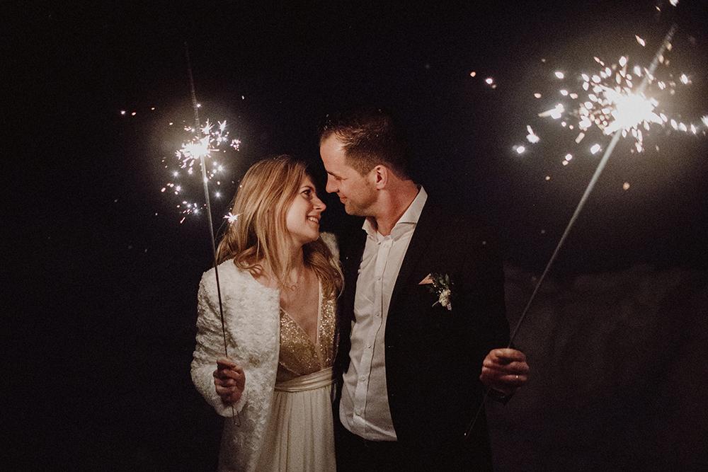 Sparkler Send Off For A Winter Wedding
