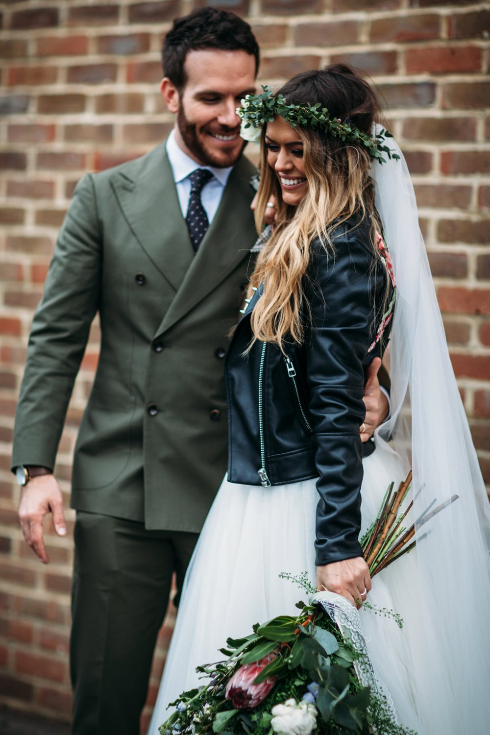 Rock And Roll Bride In Leather Jacket