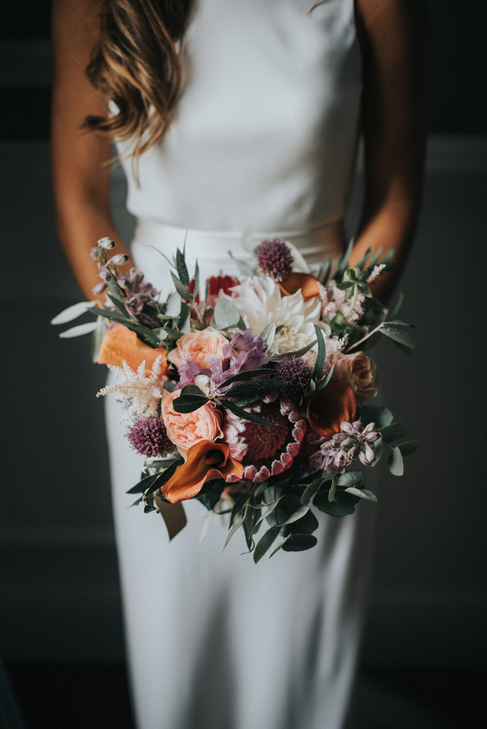 Wedding Bouquet With Red & Orange Tones