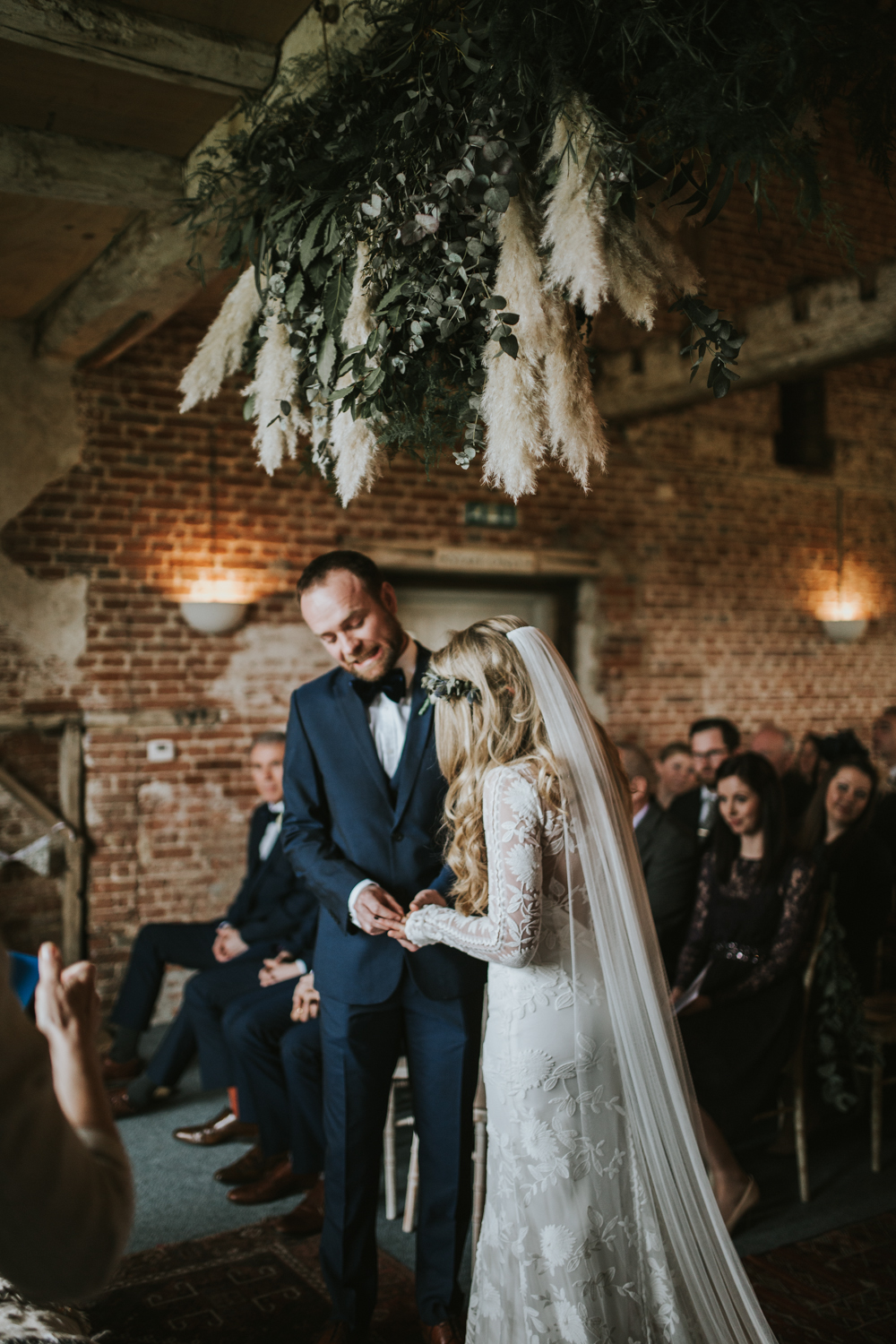 Rustic Barn Wedding At Godwick Hall With Pampas Grass Decor