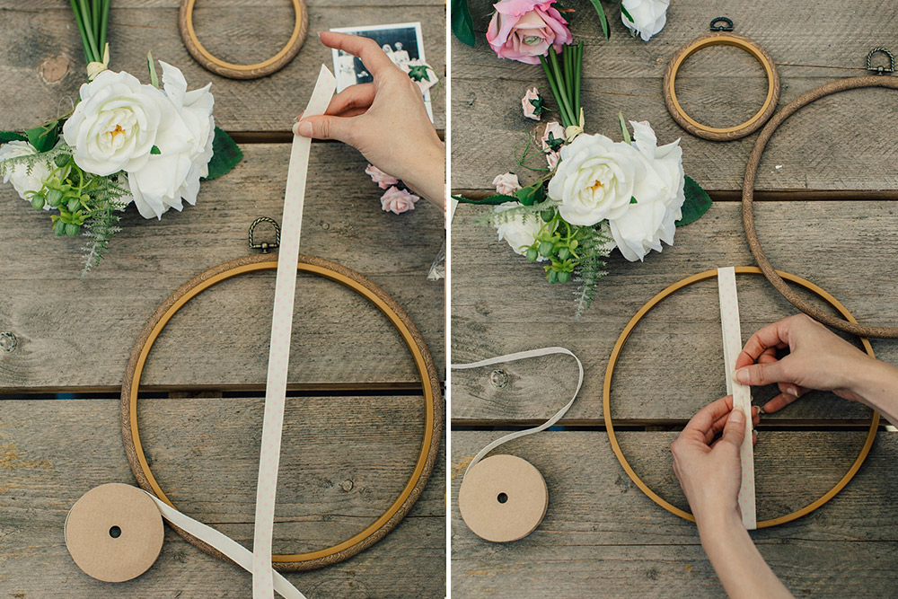 Wind ribbon around hoop and secure