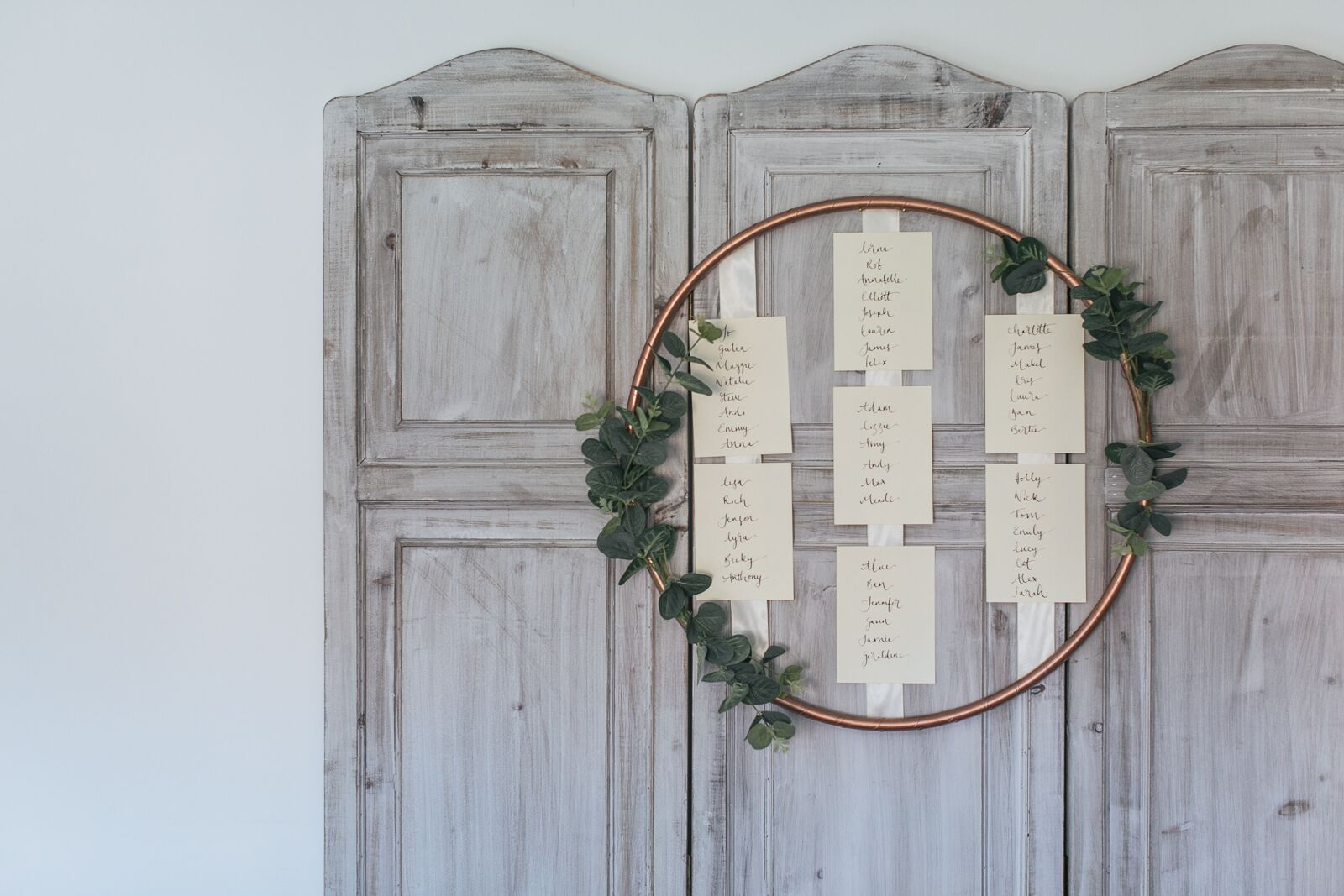 Copper Hula Hoop Table Plan with Eucalyptus and Greenery | Copper and Rose Gold Wedding Decor | Industrial Wedding Decor