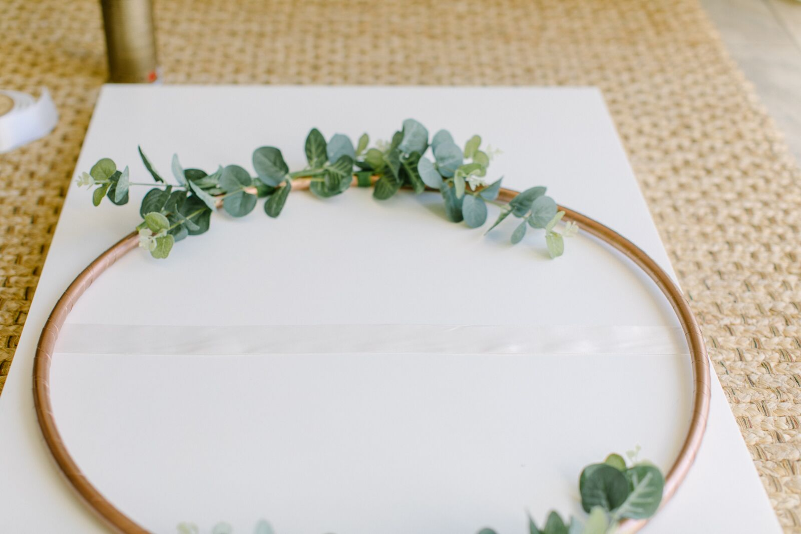 DIY Hula Hoop Table Plan | Copper Table Plan with Eucalyptus, Greenery and Ivory Satin Ribbon