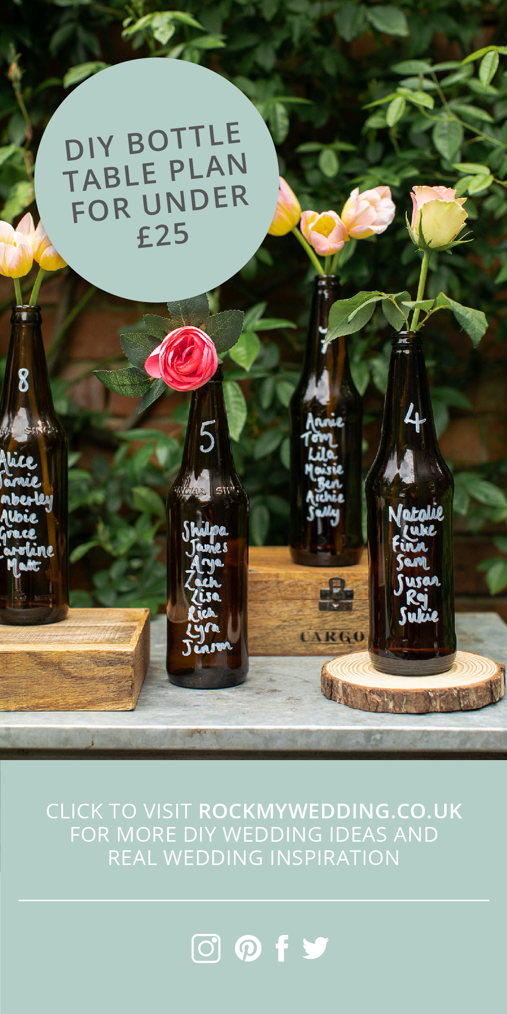 Bottle table plan created using glass bottles, a white Pebeo pen, bright florals and a rustic wooden table